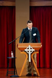 Presenting my Paper in HBU's beautiful Belin Chapel. (Photo Credit: Renee Streett, reneestreett.com)